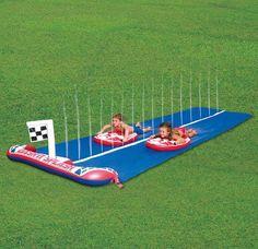 children s kids racing waterslide paddling pool slide water games garden toys