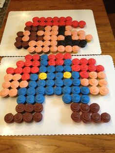 Mario mini cupcake cake --- here's an idea for bub! Super Mario Bros, Bolo Super Mario, Mario Bros Cake, Super Mario Cupcakes, Mini Cupcakes, Cupcake Cakes, Mario Birthday Cake, Super Mario Birthday, Super Mario Party