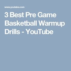3 Best Pre Game Basketball  Warmup Drills - YouTube