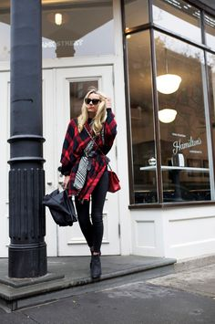Black red plaid scarf jacket