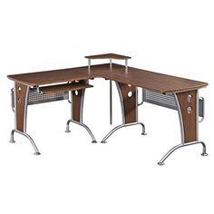 Computer L-Desk Mahogany Color - Works as described. Quality is good and seem durable.When you need new home office furniture, you're naturally looking for the Mobile Computer Desk, Computer Shelf, Printer Shelf, Top Computer, Computer Workstation, Shelf Desk, Home Office Desks, Home Office Furniture, Unique Furniture