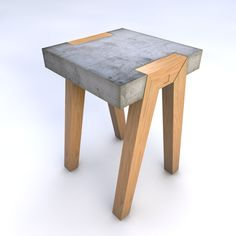 Wood and concrete stool; Project Table - by Hector Leon Concrete Stool, Concrete Furniture, Furniture Projects, Wood Stool, Cement Table, Concrete Cement, Polished Concrete, Diy Projects, Beton Design
