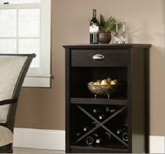 Wine Bottle Rack Storage Cabinet Drawer Black Criss cross Wood Glass Dining