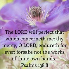 The Lord will perfect that which concerns me; Your mercy and loving-kindness, O Lord, endure forever—forsake not the works of Your own hands. - Psalm 138:8