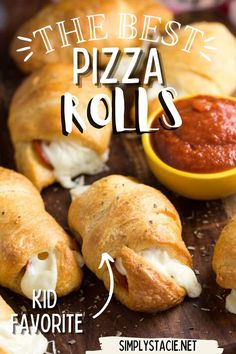 Pizza Rolls - Soft and buttery crescent rolls filled with gooey melted cheese and pepperoni slices. Add some pizza dipping sauce on the side and you have a tasty appetizer kids love! Appetizers For Kids, Yummy Appetizers, Casserole Recipes, Soup Recipes, Cooking Recipes, My Favorite Food, Favorite Recipes, Pizza Rolls, Yummy Food