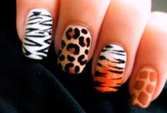 cutepolish is back again with more nail art tutorials. This time she created a series of nail art of animal print designs. There are zebra tiger leopard nails and giraffe nails. These designs would be really suitable for animal or jungle themed parties. Love Nails, Pretty Nails, Fun Nails, Color Nails, Safari Nails, Nail Art Designs, Water Marble Nail Art, Leopard Print Nails, Animal Nail Art