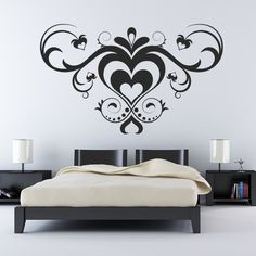 multiple love heart pattern wall art sticker decals transfers arrows