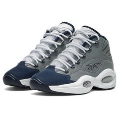 "Reebok Question ""Georgetown"" Releasing ❤ liked on Polyvore featuring shoes, sneakers, reebok, reebok sneakers, reebok trainers, reebok shoes and reebok footwear"