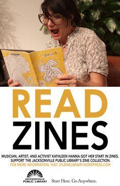 zines and kathleen hanna--win! Kathleen Hanna, Bikini Kill, Art Zine, Library Posters, Feminist Theory, Teen Library, My Face When, Riot Grrrl, New Tricks