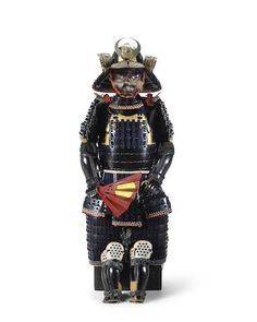 A black lacquer armor with a Myochin-school helmet and menpo The helmet by Muneharu, Edo period (1615-1868), dated 1862, the menpo by Muneyuki, Edo period (1615-1868), 19th century