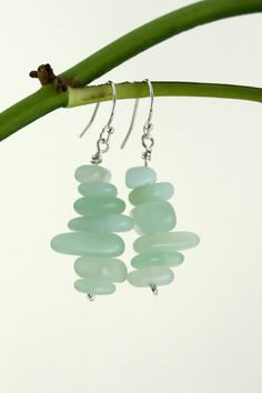 These Light Blue Sea Glass Beaded Chip Earrings pair nicely with the freshwater pearl and sea glass bead bracelet also featured on this board.  The robin's egg blue color is so refreshing!