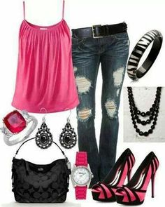 Dress Casual Pink Tank & Jeans