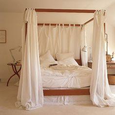 Brooklyn Striped Bedding Set 4 Poster Beds3 BedsCanopy BedsLinen CurtainsWhite