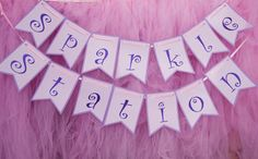Pink Purple Princess Banner,  Activity Banner, Dress Up Banner, Princess Station Banner