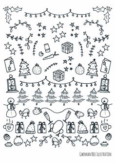 These Christmas borders are amazing for my Bullet Journal! - These Christmas borders are amazing for my Bullet Journal! These Christmas bo - Bullet Journal Printables, Bullet Journal Inspiration, Bullet Journals, Christmas Doodles, Christmas Crafts, Christmas Holidays, Merry Christmas, Christmas Porch, Christmas Candy