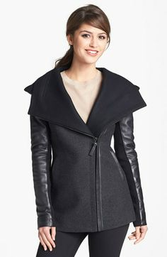 Mackage 'Vena' Hooded Leather Sleeve Coat available at #Nordstrom - Totally obsessed with this coat.