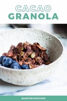 If you're looking for a decadent and filling snack that's also nourishing, look no further than this Cacao Granola recipe. It makes the perfect snack and is a guilt-free way to satisfy chocolate and sweet tooth cravings. Make a large batch on meal prep days to have on hand during the busy week! Healthy Chocolate Snacks, Healthy Snacks, Chocolate Recipes, Smart Snacks, Filling Snacks, Fall Snacks, Food Obsession, Roasted Almonds, Granola