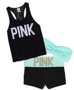 La tenue est pour l'été. Ils sont très sportifs. Le débardeur est noir, et les shorts de gymnastique est noir avec une bande bleue sur le dessus. Le hairband est bleu aussi, est le match de vêtements est très bien. Les vêtements sont faisons de polyester et ils sont très confortable. Vous pouvez l'acheter le tenue dans les magasine de Pink pour $65.00.