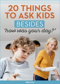 20 Things to ask your kids other than 'How was your day?' Does your kid act like they're in the CIA when you ask them how was their day? Brilliant list will help you get answers! Gentle Parenting, Parenting Advice, Kids And Parenting, Parenting Classes, Mom Advice, Peaceful Parenting, Parenting Memes, Parenting Styles, Foster Parenting