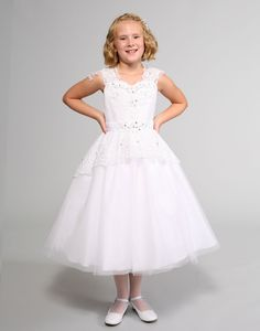 This stunning dress by Sweetie Pie Collection is a satin dress with lace shoulder straps and lace overlay on bodice. The skirt is tulle with a lace overlay. Satin Dresses, Lace Dress, White Flower Girl Dresses, Dresses For Less, White Caps, Stunning Dresses, Lace Overlay, Bodice, Tulle