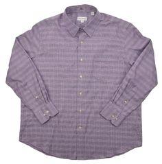 Tommy Bahama Mens Casual Dress Shirt Purple / White Plaid Size 16.5 & 17.5 #TommyBahama #DressShirt