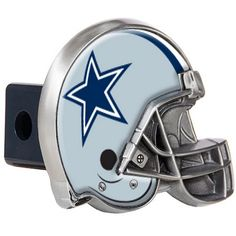 """After you've unhooked your rig, add some gridiron flair to your vehicle with this NFL® trailer hitch cover . The cover features a durable metal construction, fits any 2"""" receiver, and is shaped like a football helmet & decorated with the full-color team logo. Order yours today, Orencoflags.com"""