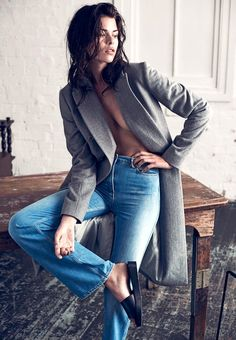grey coat, high-waisted jeans & slide sandals #style #fashion
