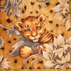 4 St.TIGER BABY cream Servietten 33 - 33 cm. von Nerikunst auf DaWanda.com
