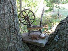 Fairy spinning wheel. Do they use cobwebs? Diane Heyne's amazing artwork.