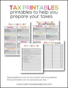 Tax Printables- easy checklists to help you prepare your taxes.  Add these to your budget binder!   Keep all your paperwork organized in your family household binder!