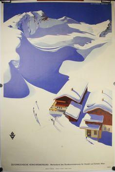 Austria Ski Poster, 1937. An original vintage Travel 25″ x 37″ ski poster designed for the Austrian tourism by the celebrated poster designer Erich von Wunschheim.