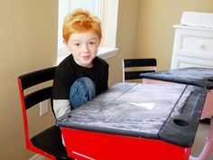 Just found an old school desk. This is a great idea for how to use it - chalkboard paint!