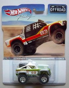 Hot Wheels Racing 2012 Offroad Custom Ford Bronco Light Green/White by Mattel. $19.99. Includes die-cast bodies, die-cast chassis and Real Riders tires!. Ages 8 and up. From Mattel.. CUSTOM FORD BRONCO * 2012 OFFROAD * Hot Wheels RACING SERIES 1:64 Scale Die-Cast Vehicle. Vehicle measures approximately 3 inches long.. New 2012 Hot Wheels Release!. CUSTOM FORD BRONCO * 2012 OFFROAD * Hot Wheels RACING SERIES 1:64 Scale Die-Cast Vehicle.   By now, you've begun c...