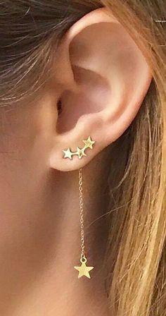 Cute Ear Piercing Ideas for Women - Unique Star Ear Climber Crawler Dangle Earri. - Cute Ear Piercing Ideas for Women – Unique Star Ear Climber Crawler Dangle Earrings in Gold – - Ear Jewelry, Cute Jewelry, Gold Jewelry, Jewelery, Jewelry Accessories, Women Jewelry, Gold Bracelets, Jewelry Shop, Jewellery Box