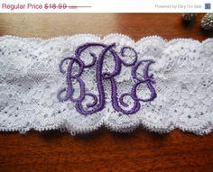 Monogrammed Garter Garter Wedding Garter by BloomsandBlessings