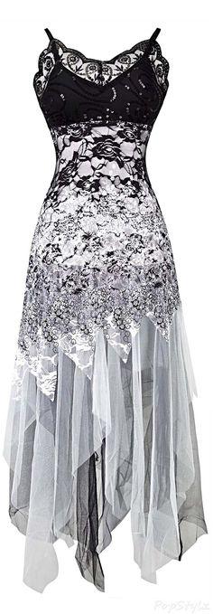 Angel-fashions Lace & Mesh Zigzag Hem Dress