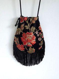 Floral Fringe Tapestry Gypsy Bag Black Cross Body Bag Bohemian  Hippie Bag Festival Bag Renaissance bag Shoulder Bag Hand Bag