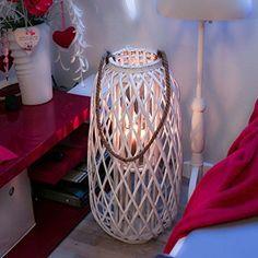 XXL Laterne Rattan mit Glas-Windlicht,