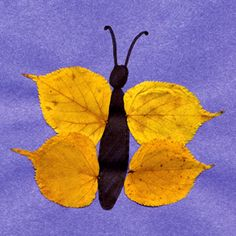 leaf butterfly toddler craft - use stick for body and smaller sticks for antennas (nature day)
