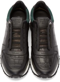 Fendi - Black Croc-Embossed Sneakers
