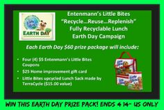 Win an amazing Earth Day Prize Pack ($60 value)!  Includes: Four Entenmann's Freebie Coupons ($5Value each) $25 Home Improvement Gift Card Little Bites Recycled Lunch Sack by TerraCycle ($15.00 Value) http://kouponkrazed.com/2014/04/win-amazing-earth-day-prize-pack-60-value/