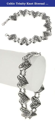 """Celtic Trinity Knot Eternal Heart Bracelet Sterling Silver 7.5"""". The Unbroken, Interwoven Knots Symbolize the Continuity of the Spirit Throughout Existence. Designed by Courtney Davis."""