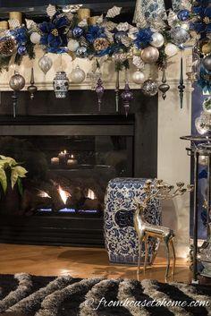 Blue Christmas Decoration Ideas Luxury Beautiful Blue and White Christmas Home Decorating Ideas Diy Christmas Fireplace, Halloween Fireplace, Christmas Mantels, White Christmas, Christmas Home, Christmas Villages, Victorian Christmas, Vintage Christmas, Christmas Trees