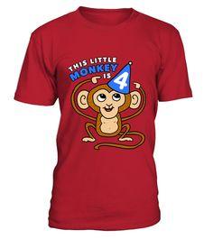 Kids Monkey T shirt 4th Birthday Gift Little Monkey Is 4