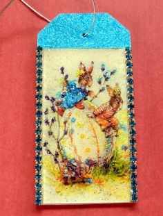 Little girl in bonnet vintage easter gift tag glitter wood tag easter bunnies vintage easter gift tag glitter wood tag easter wishes rabbits negle Choice Image