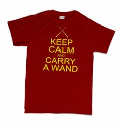 0decc4251 Keep Calm And Carry A Wand T-Shirt Pop Culture Harry Wizard Geek Potter  Spoof Humor Tee Shirt Tshirt Mens Womens Kids
