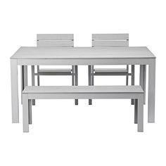 IKEA - FALSTER, Tafel+2 stoelen + bank, buiten, grijs, , De latten van polystyreen zijn weerbestendig en onderhoudsvriendelijk.Het meubel is stevig en licht door het frame van roestvrij aluminium.Om het zitcomfort nog verder te verbeteren en je stoel persoonlijker te maken, kan je deze completeren met een kussen in een stijl die bij je past.