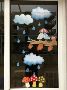 20 Beautiful Decorating Ideas Are Right For Window In The Rainy Season Preschool Crafts, Diy And Crafts, Crafts For Kids, Arts And Crafts, Paper Crafts, Class Decoration, School Decorations, Thanksgiving Door Decorations, Fall Window Decorations