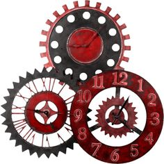 feli_btd_metal clocks.png ❤ liked on Polyvore featuring fillers, steampunk, clocks, backgrounds and red