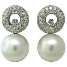 Chopard Happy Diamonds Pearl Gold Earrings